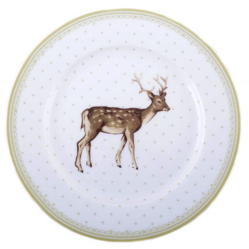 Plato cerámica postre Ciervo Topos Highland Katie Alice