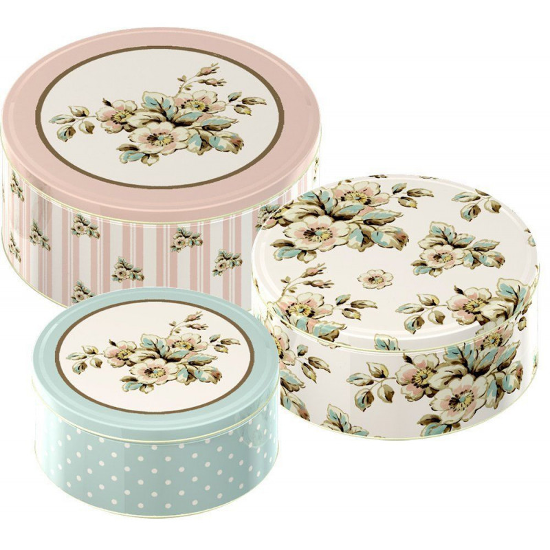 Pack de 3 latas redondas Flores Cottage Katie Alice