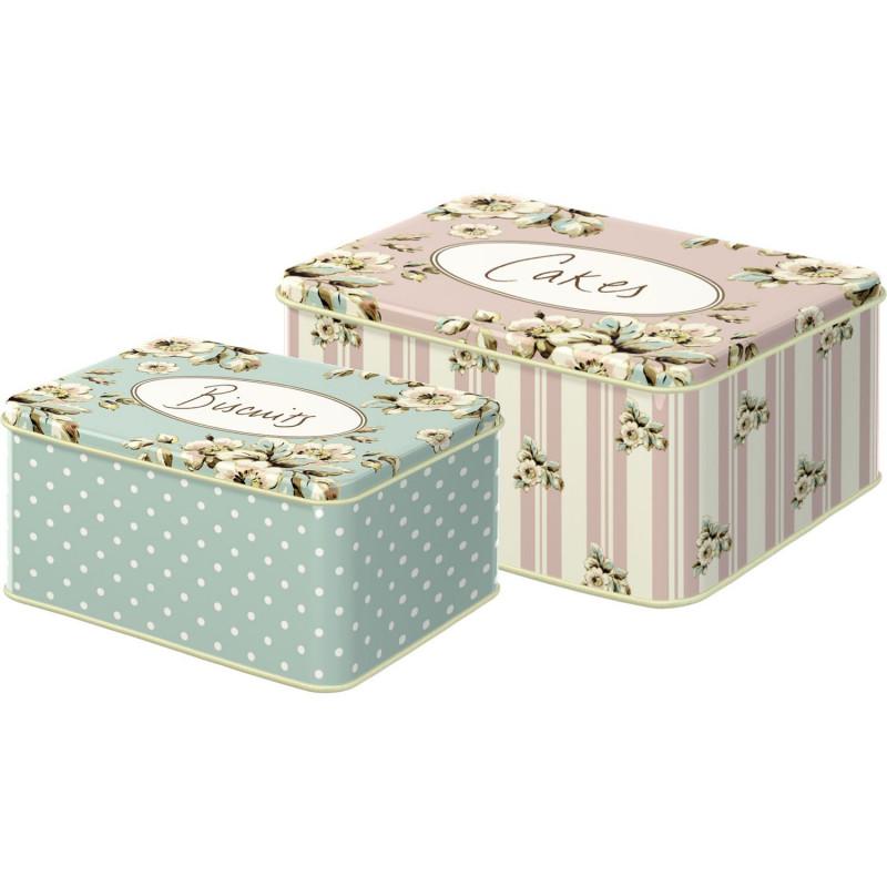 Pack de 2 latas rectangulares Flores Cottage Katie Alice