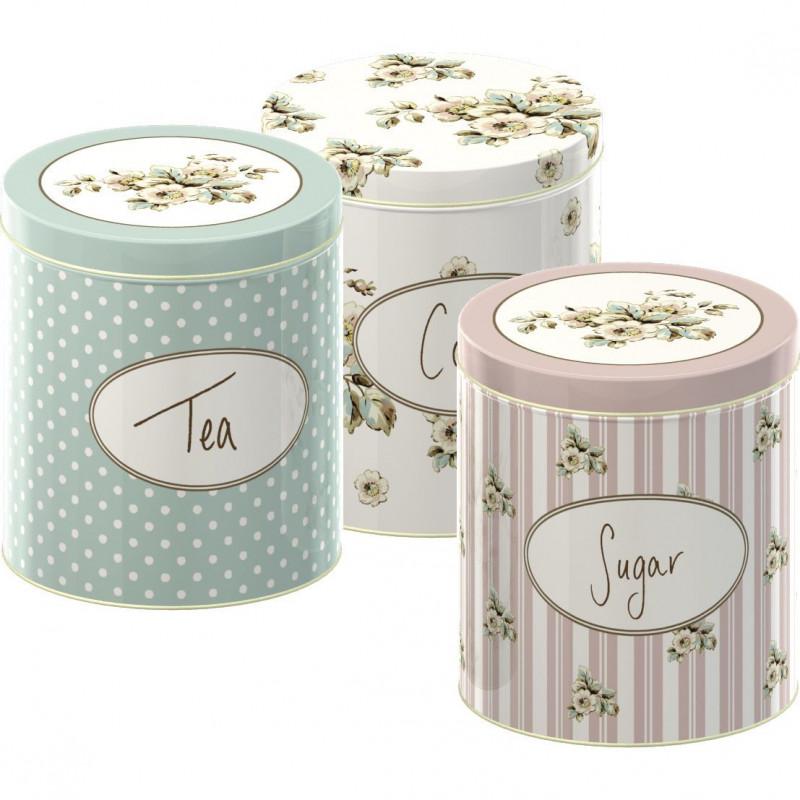 Pack de 3 latas redondas: azúcar, té y café Flores Cottage Katie Alice