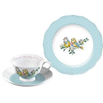 Taza + 2 platos Azul Pajaros Cottage Katie Alice