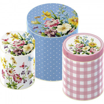Pack de 3 latas redondas pequeñas English Garden Katie Alice