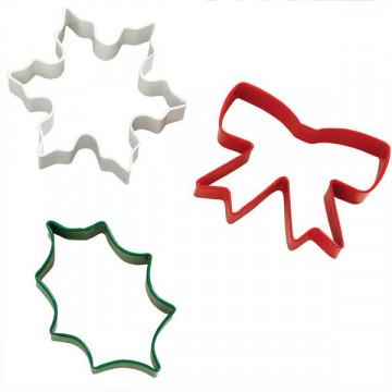 Cortante pack 3 cortantes: Lazo, Hoja y Copo de nieve Navidad Wilton