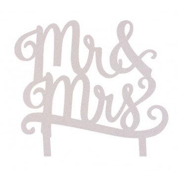 Topper para tarta Plata: Mr & Mrs