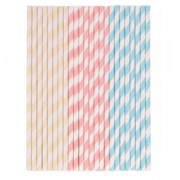 Pajitas de papel Rayas pastel: amarillo, rosa y azul