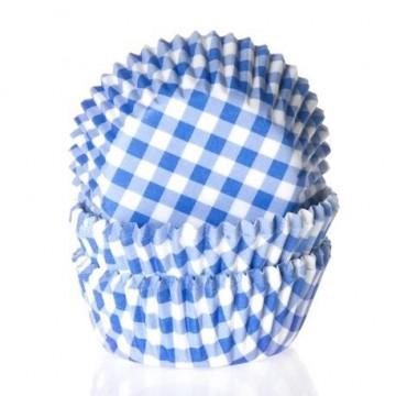 Cápsulas cupcakes cuadritos vichy azul House of Marie