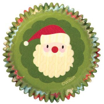Capsulas cupcakes Verde Carita Papa Noel Wilton