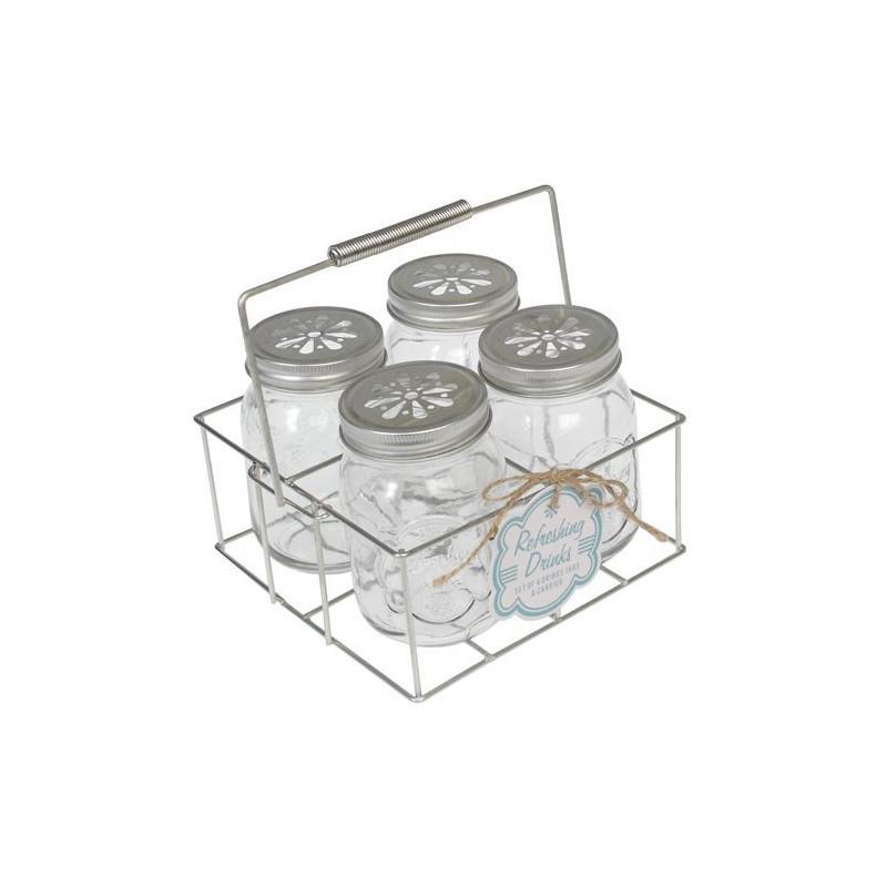 Set 4 Jarra de cristal + tapas + cesta
