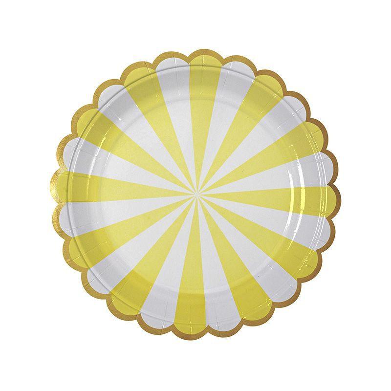 Platos fiesta Rayas Amarilla