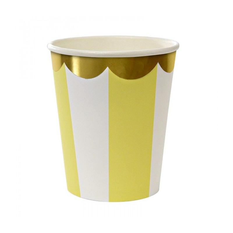 Vasos fiesta Rayas Amarillo