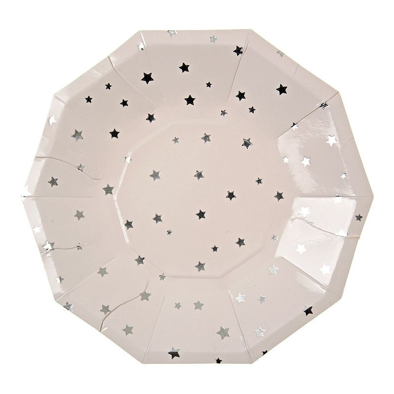 Platos fiesta hexagonal Estrellas Plateadas