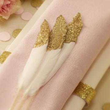 Plumas puntas doradas Decorativas