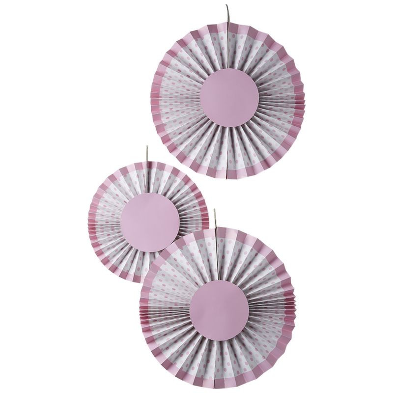Pack 3 abanicos de papel Lunares Rosa