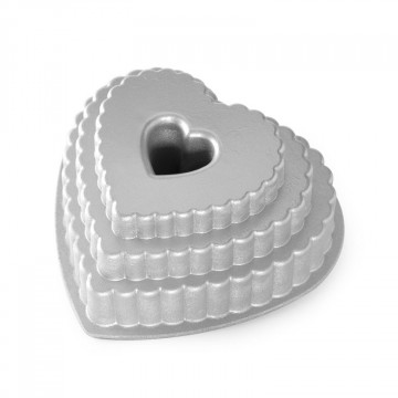 Molde bizcocho Tiered Heart Bundt Nordic Ware