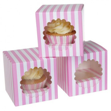 Pack 3 cajas cupcakes individual rayas rosa HoM