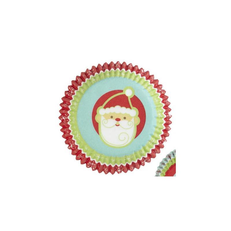 Capsulas cupcakes Carita Papa Noel Fondo Azúl Wilton