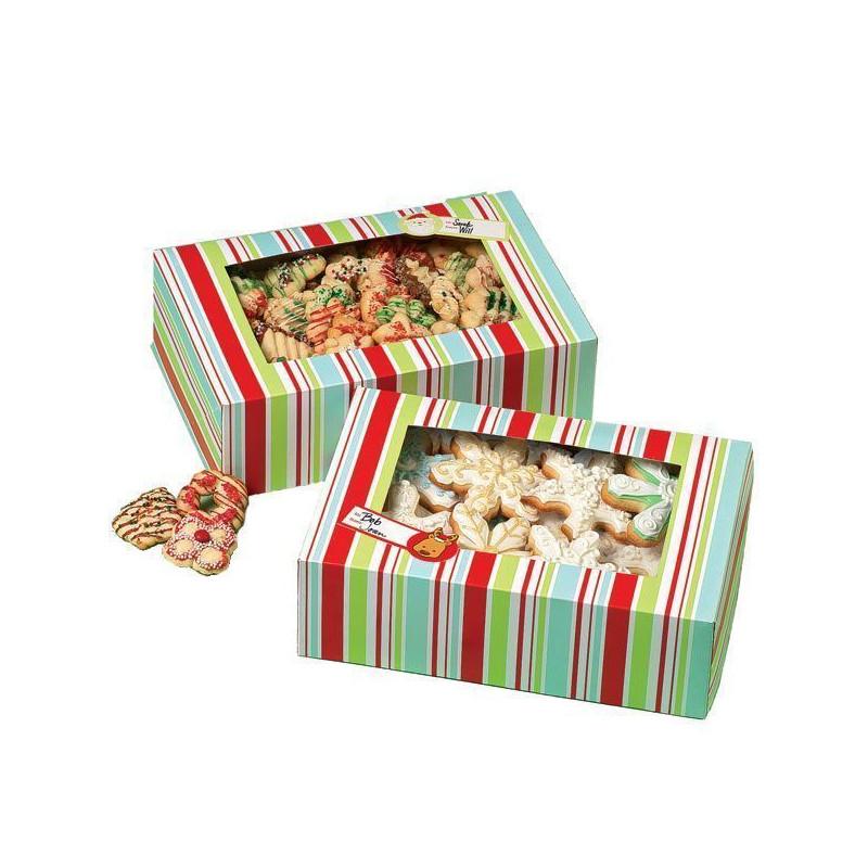 Cajas, pack 2 cajas largas presentación cupcakes, dulces Snowflake Wishes Rayas Wilton