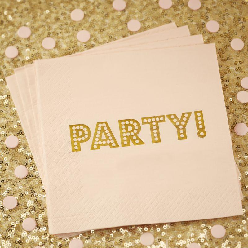 Servilleta de papel Party Oro y Rosa