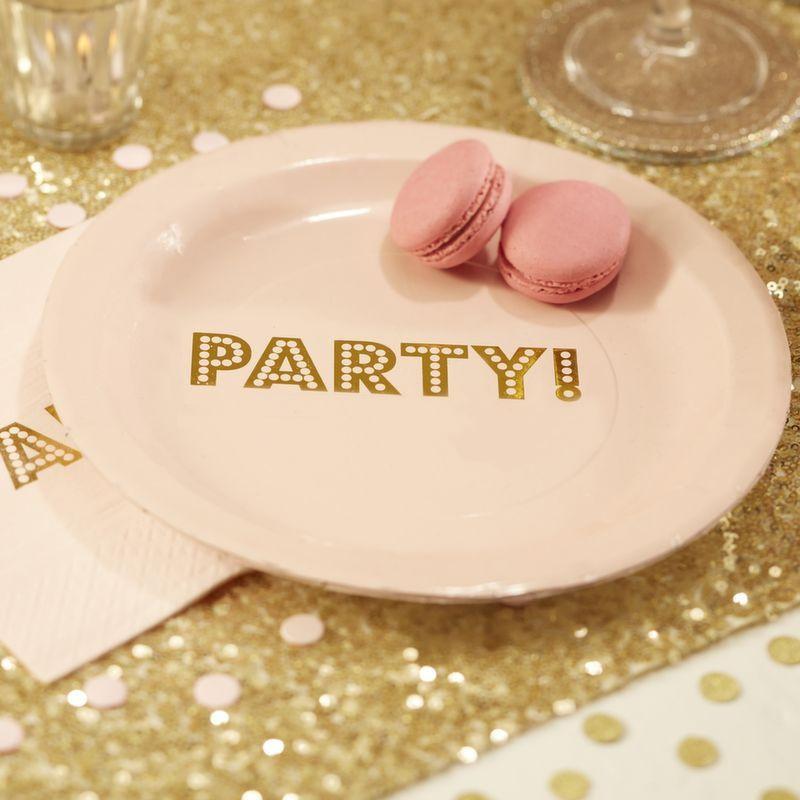 Platos fiesta Party Oro y Rosa