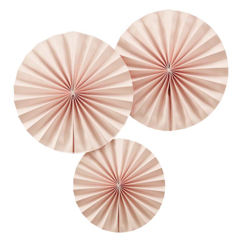 Pack 3 abanicos de papel rosa pastel