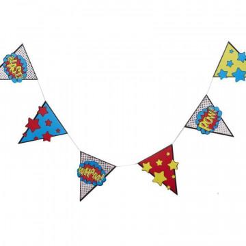 Guirnalda banderola Pop art Super heroe