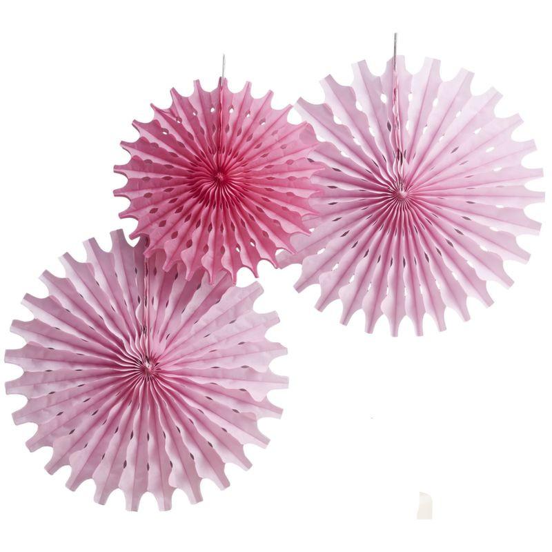 Pack 3 abanicos de papel perforados rosa