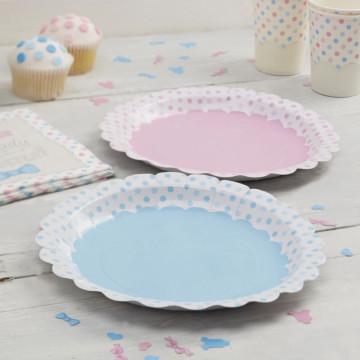 Platos fiesta Lunares rosa y azul