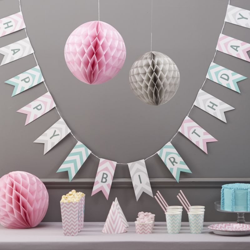 Guirnalda banderolas Happy Birthday Chevron Pastel