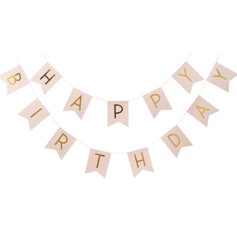 Guirnalda banderola Happy Birthday rosa y oro