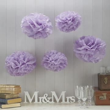 Pack 5 pompones lila