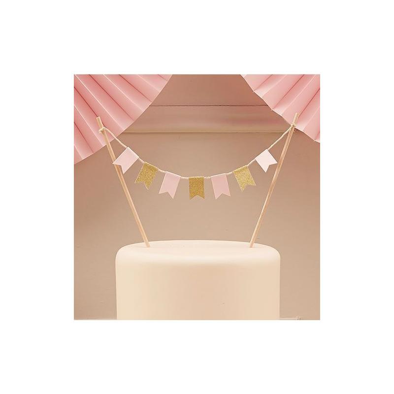 Topper para tarta Party Oro y Rosa
