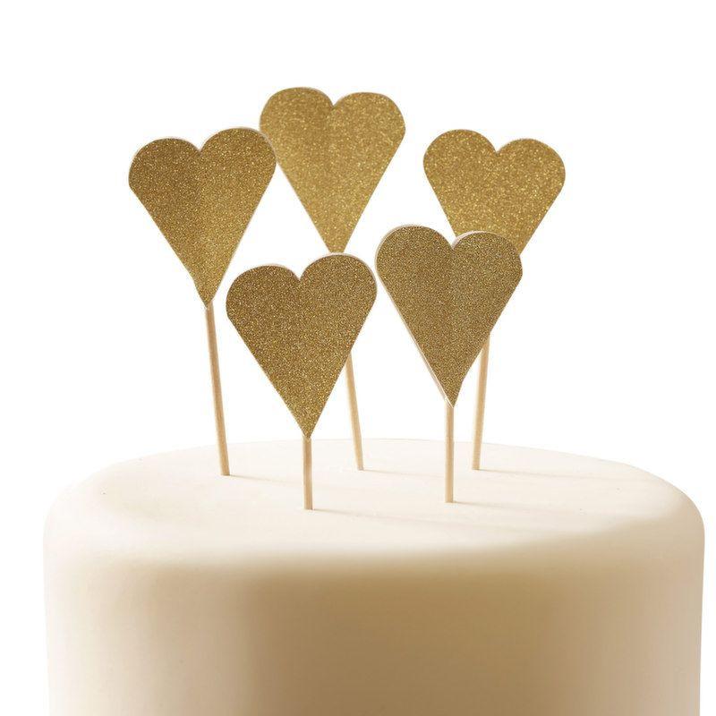 Pack 12 toppers Corazón dorado