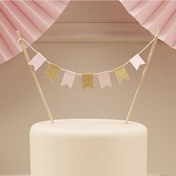 Guirnalda de abanicos de papel Rosa Pastel