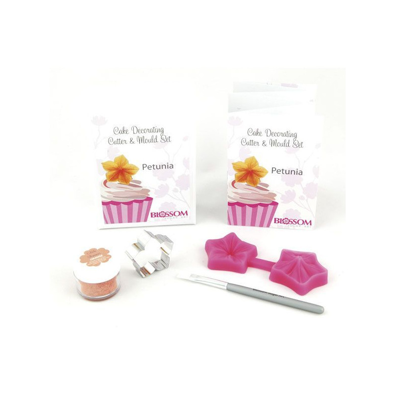 Set Petunia: cortador+molde silicona+polvo brillo edible shimmer - Orange +brocha Blossom