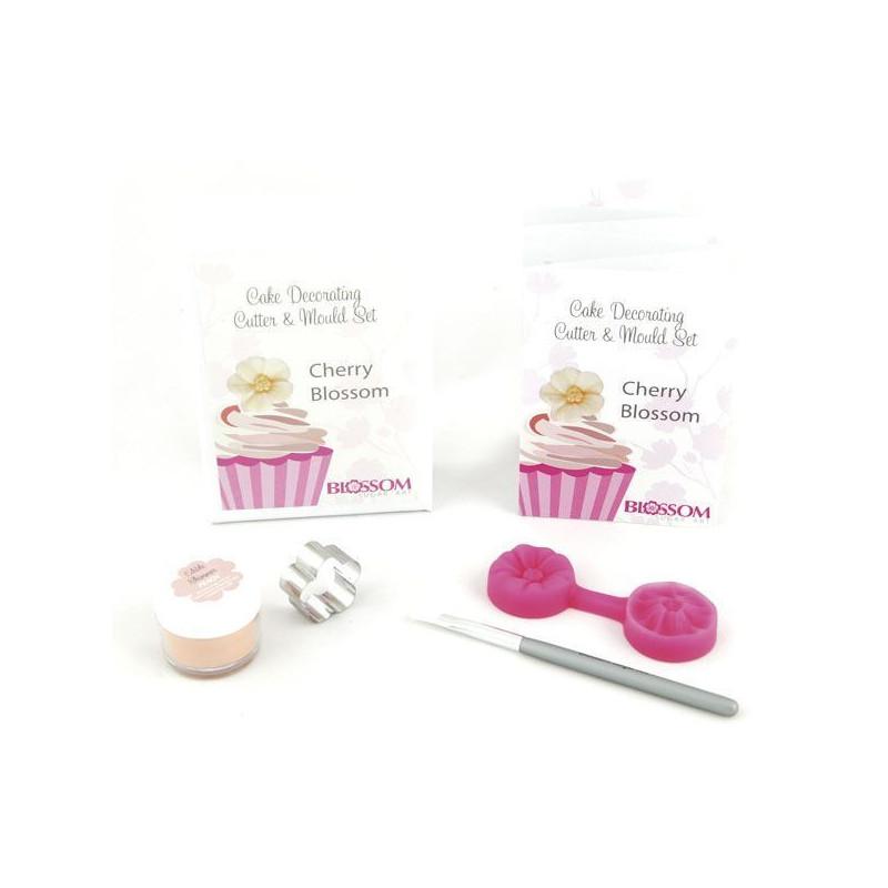 Set Cherry Blossom: cortador+molde silicona+polvo brillo edible shimmer - Peach +brocha Blossom