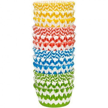 Cápsulas cupcakes pack 300 unidades surtido chevron colores vivos Wilton