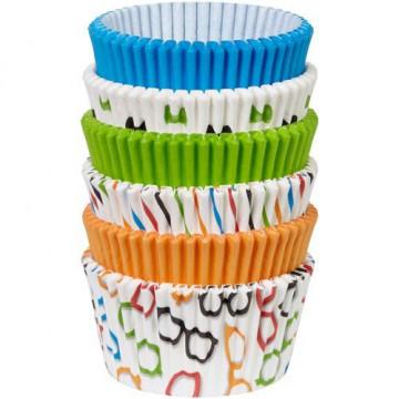Cápsulas cupcakes pack 150 unidades surtido gafas y lazos colores vivos Wilton