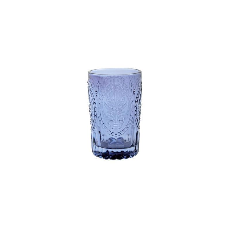 Vaso de cristal labrado azul añil