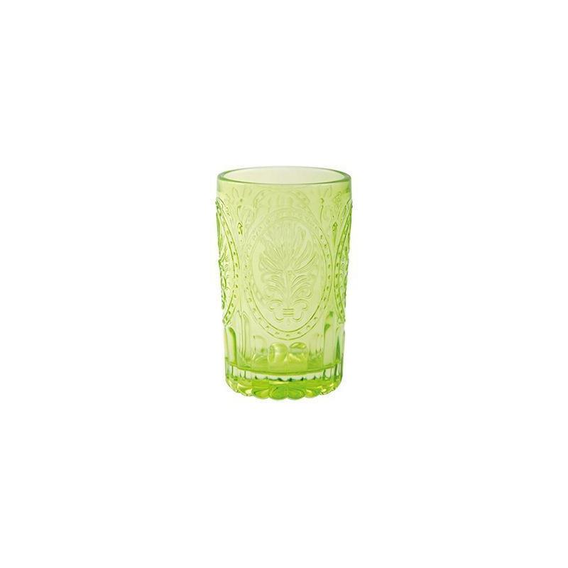 Vaso de cristal labrado verde