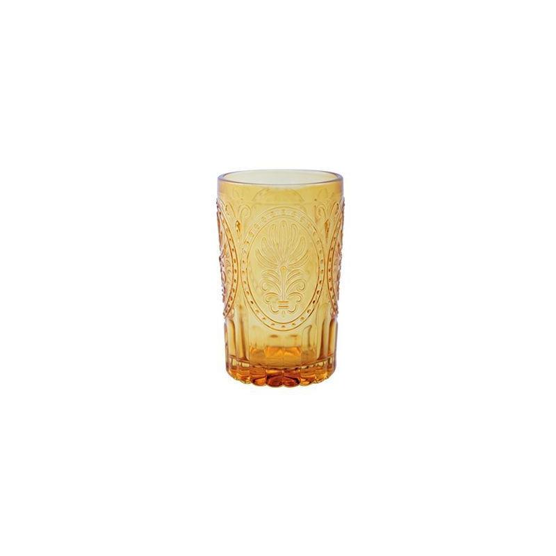 Vaso de cristal labrado amarillo
