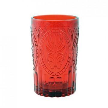 Vaso de cristal labrado rojo