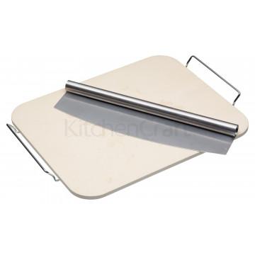 Piedra para hornear pizza rectangular y paleta