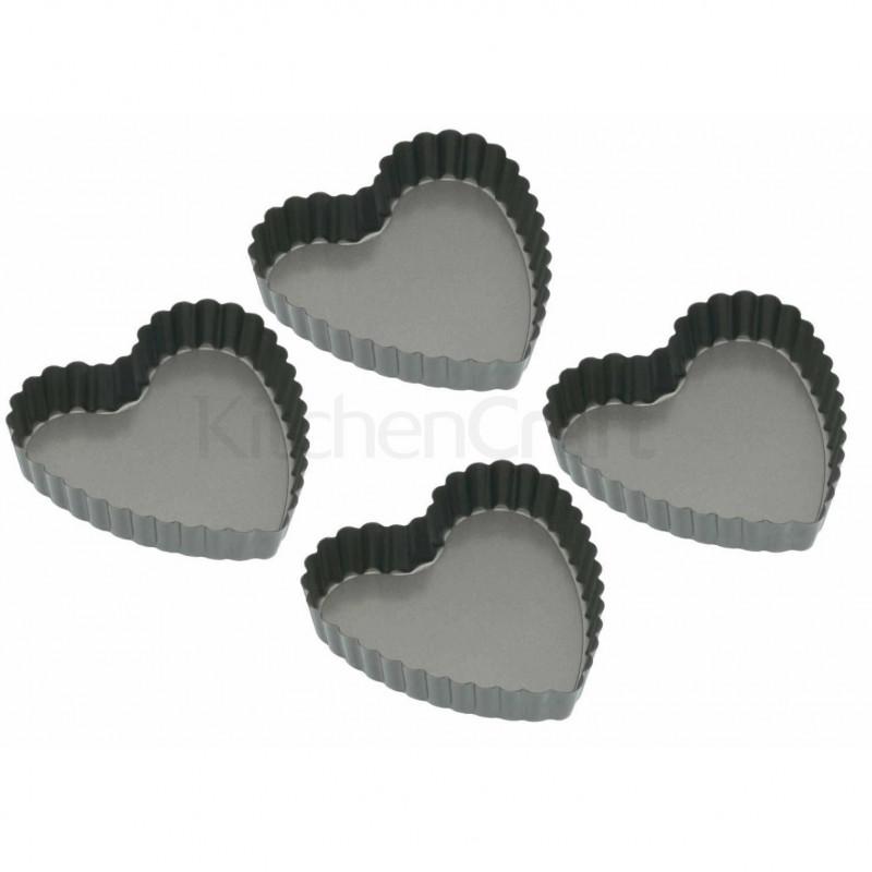 Pack de 4 tartaletas en forma de corazón Kitchen Craft