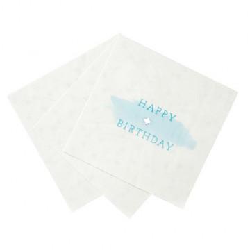 Servilleta de papel Feliz Cumpleaños Azul