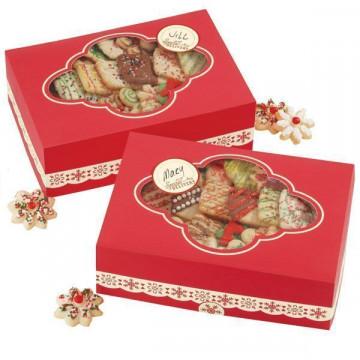Cajas, pack 2 cajas largas presentación cupcakes, dulces Red Box Wilton