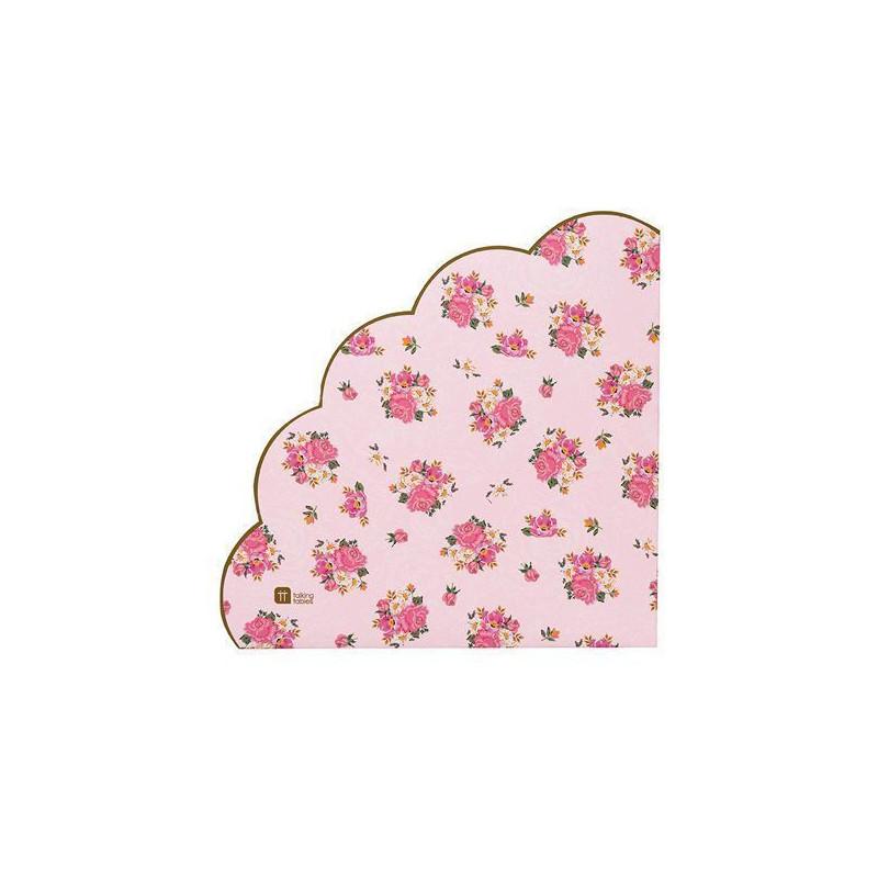 Servilleta de papel redondo rosa con flores
