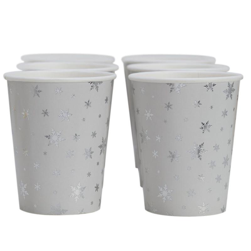Vasos de papel Copo de Nieve Plata