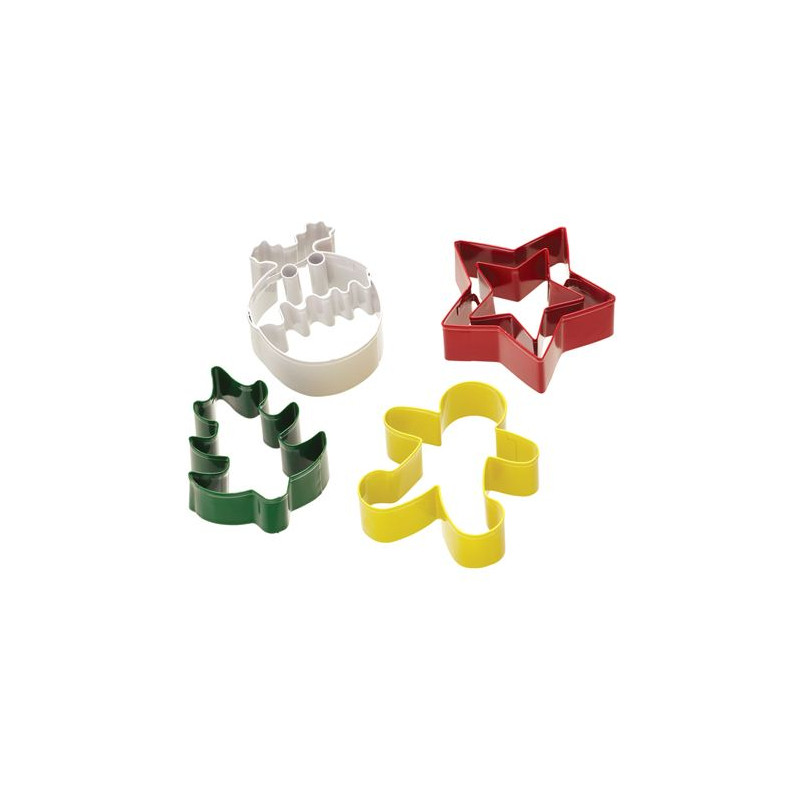 Cortante pack 4 cortates navidad: Bola de Navidad, Estrella doble, Árbol y Gingerbread