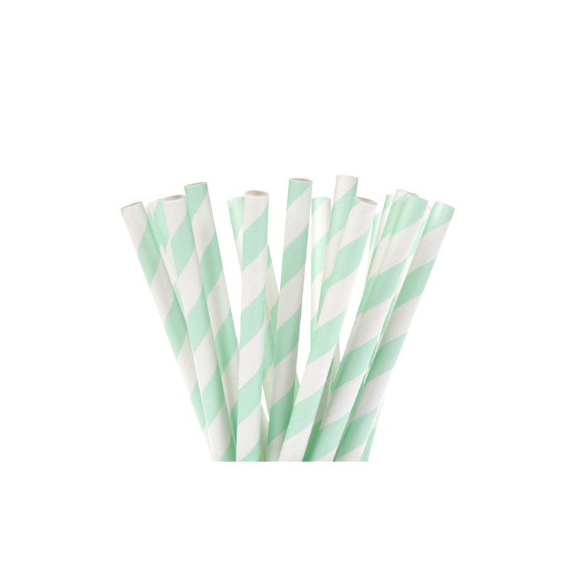 Pajitas de papel Blancas con lineas verde menta Hom