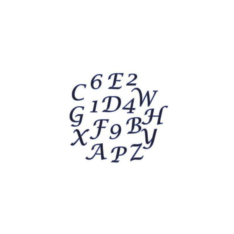 Alfabeto mayúscula y números  Script celeste